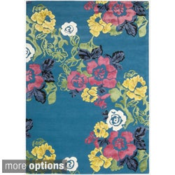 Hand-tufted Wildflower Turquoise Wool Blend Rug
