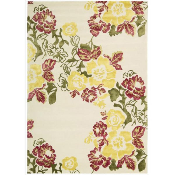 Hand-tufted Wildflower Ivory Wool Blend Rug