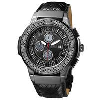 JBW Men's Black Ion-Plated Steel Diamond Leather Watch