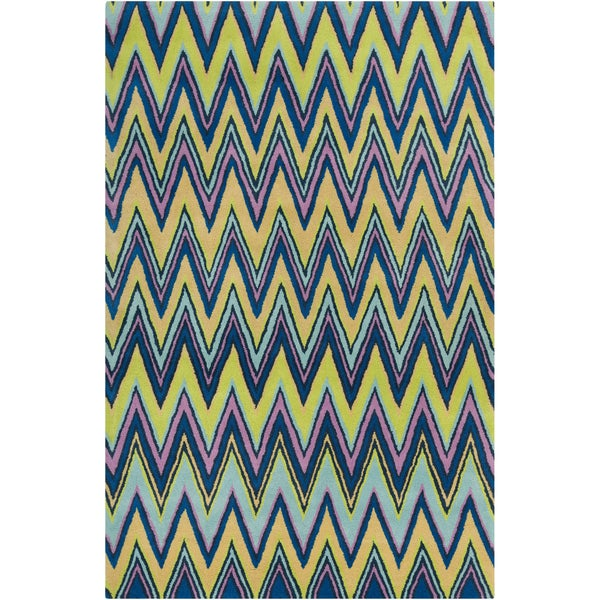 Allie Handmade Geometric Blue Wool Area Rug - 5' x 7'6