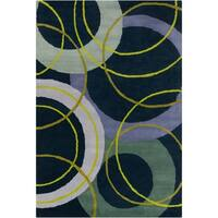 Allie Handmade Geometric Blue Wool Rug - 5' x 7'6