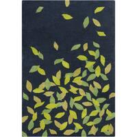 "Allie Handmade Floral Blue/Green Wool Rug - 5' x 7'6"""