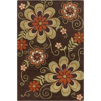 Allie Transitional Handmade Floral Brown Wool Rug - 5' x 7'6