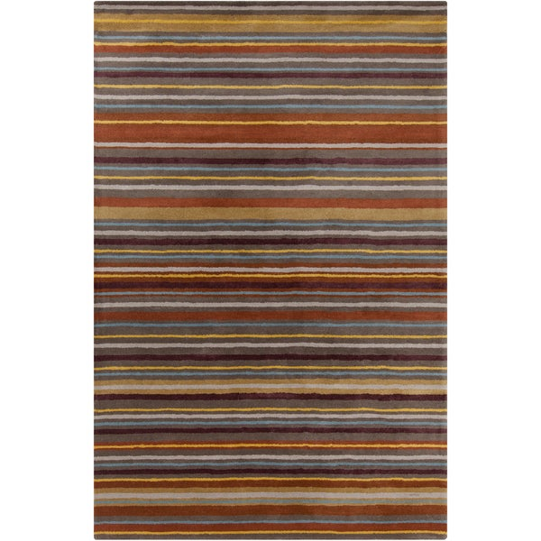 Allie Handmade Stripes Wool Rug - 5' x 7'6