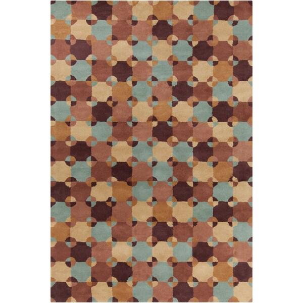 Allie Handmade Geometric Brown Wool Area Rug - 5' x 7'6