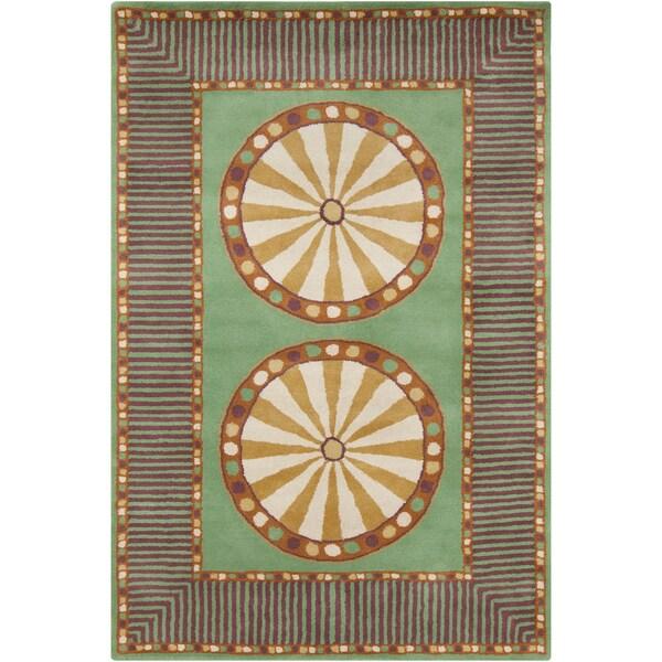 Allie Handmade Geometric Green Wool Rug (5' x 7'6)
