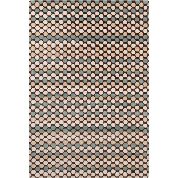 Allie Handmade Geometric Brown Indoor Wool Rug - 5' x 7'6