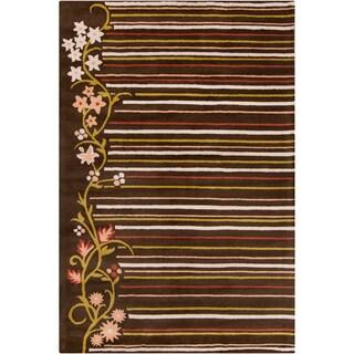 Allie Handmade Striped Floral Brown Wool Rug (5' x 7'6)