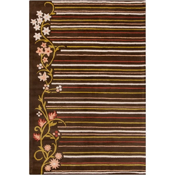 Allie Handmade Striped Floral Brown Wool Rug - 5' x 7'6