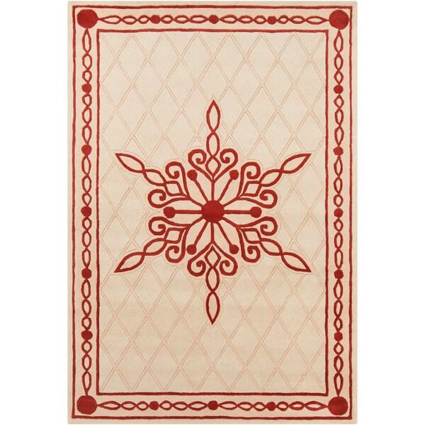 "Allie Handmade Abstract Cream Wool Area Rug (5' x 7'6"")"