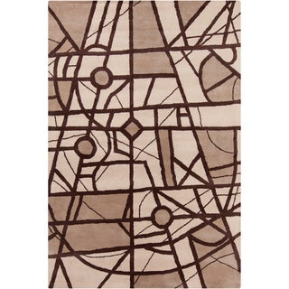 "Allie Handmade Geometric Brown Plush Wool Rug (5' x 7'6"")"