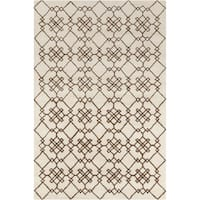 Allie Handmade Geometric Cream Wool Rug - 5' x 7'6