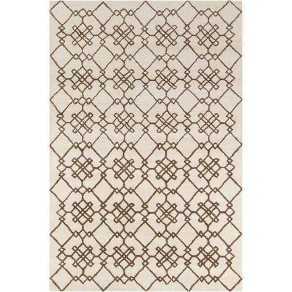Allie Handmade Geometric Cream Wool Rug - 5' x 7'6