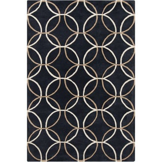 Allie Handmade Geometric Black Wool Rug (5' x 7'6)