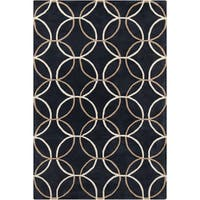 Allie Handmade Geometric Black Wool Rug - 5' x 7'6