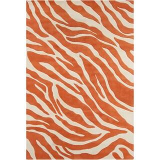 Allie Handmade Abstract Orange/Cream Wool Rug (5' x 7'6)