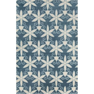 Allie Handmade Floral Blue/ Cream Wool Rug (5' x 7'6)