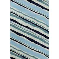 Allie Modern Handmade Abstract Blue Wool Rug - 5' x 7'6