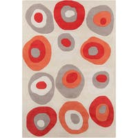Allie Handmade Geometric Gray Abstract Wool Rug - 5' x 7'6