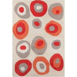 Allie Handmade Geometric Gray Abstract Wool Rug - 5' x 7'6