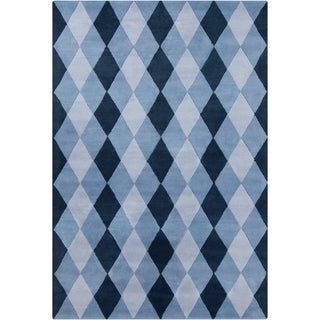 "Large Allie Handmade Geometric Blue Wool Rug (5' x 7'6"")"