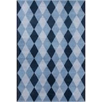 Large Allie Handmade Geometric Blue Wool Rug - 5' x 7'6