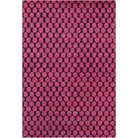 Allie Handmade Geometric Pink/Black Wool Rug - 5' x 7'6