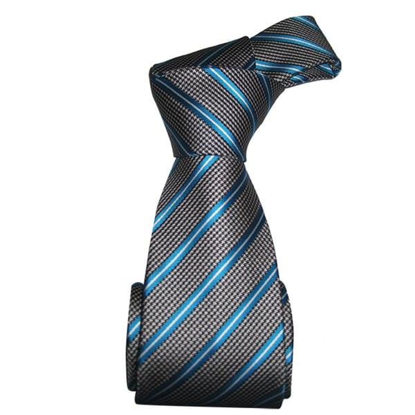 Dmitry Men's Grey and Blue Striped Italian Silk Tie