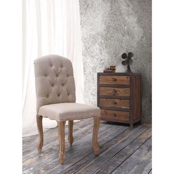 Noe Valley Charcoal Grey Button Tufted Oak Wood Dining Chair