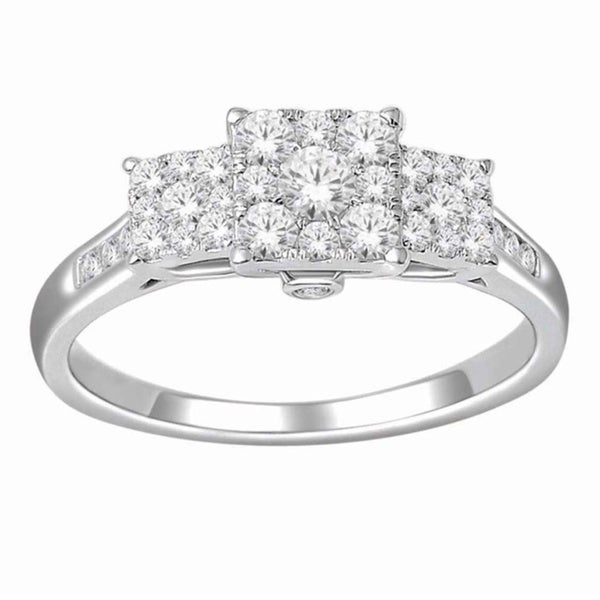 De Couer 10k White Gold 3/4ct TDW Diamond Engagement Ring