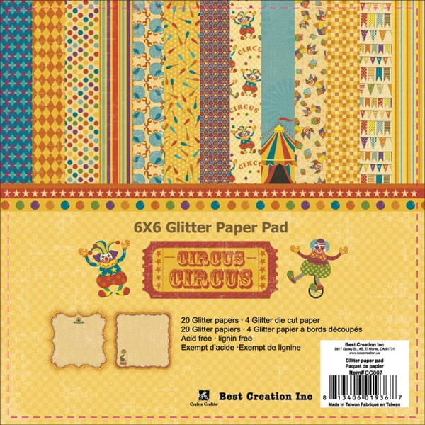 "Circus Circus Double-Sided Glitter Paper Pad 6""X6"" 24/Sheets-4 Sheets With Die-Cut Edges"