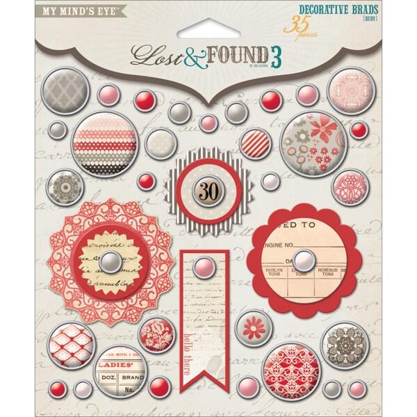 Lost & Found 3 Ruby Decorative Brads-