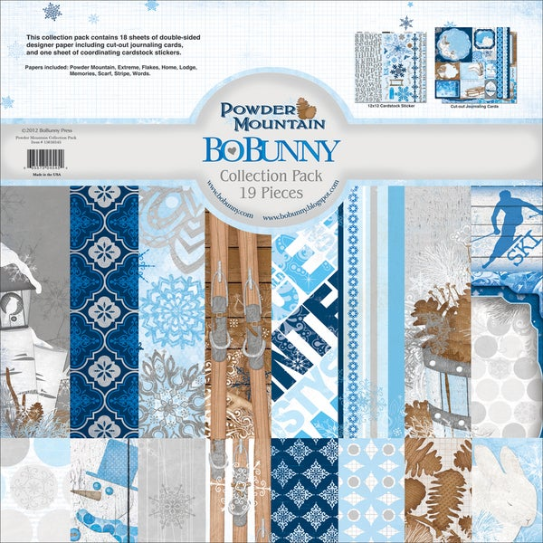 """Powder Mountain Collection Pack 12""""X12""""-18 Double-Sided Papers + Sticker Sheet"""