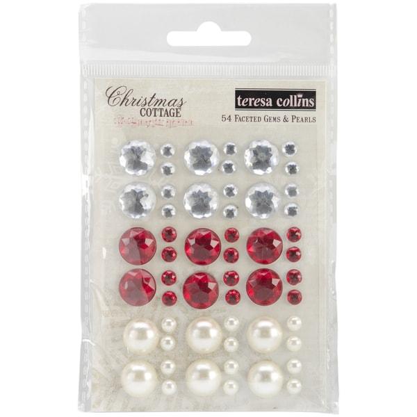 Christmas Cottage Faceted Gems & Pearls 54/Pkg-