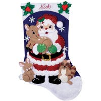 "Forest Friends Stocking Felt Applique Kit-16"" Long"