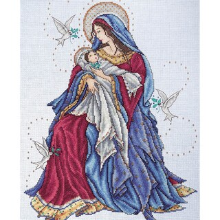"Madonna & Child Counted Cross Stitch Kit-12""X15"" 14 Count"