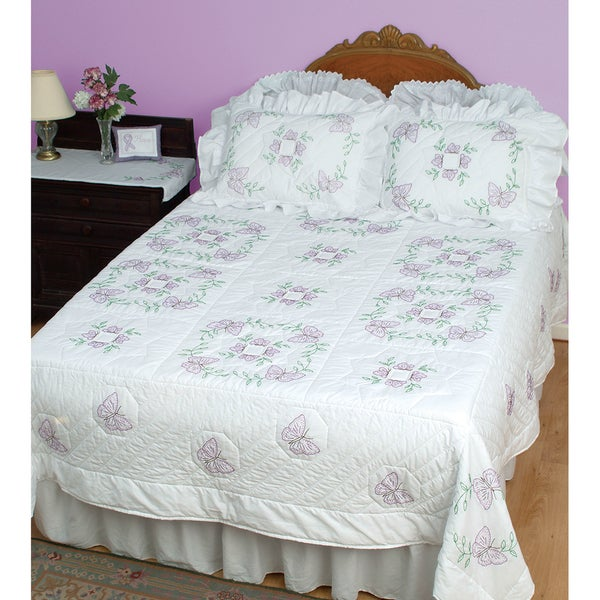 Stamped White Quilt Top -Butterflies