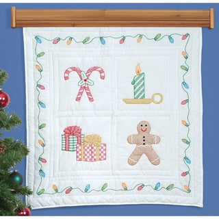 """Stamped White Wall Or Lap Quilt 36""""X36""""-Christmas Window"""