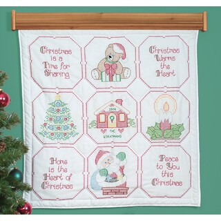 """Stamped White Wall Or Lap Quilt 36""""X36""""-Christmas Blessings"""