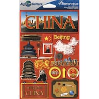 "Jet Setters International Dimensional Stickers 4.5""X6.75""-China"