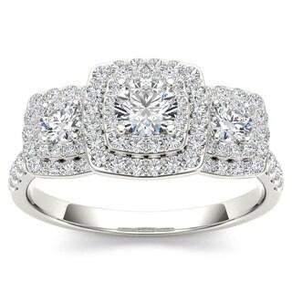 De Couer 10k Gold 1ct TDW Diamond Halo 3-stone Engagement Ring