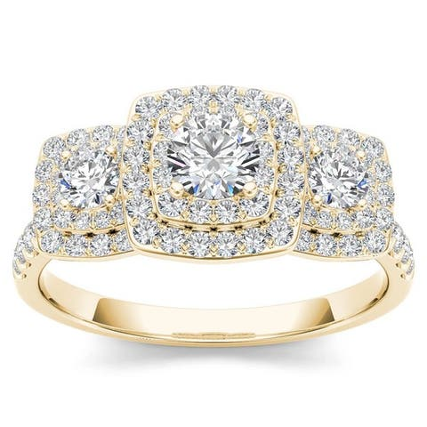 De Couer IGI Certified 10k Gold 1ct TDW Diamond Halo 3-stone Engagement Ring