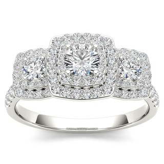 De Couer 10k Gold 1ct TDW Diamond Halo 3-stone Engagement Ring