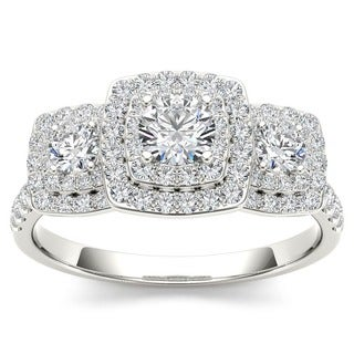 De Couer 10k Gold 1ct TDW Diamond Halo 3-stone Engagement Ring (H-I, I2)