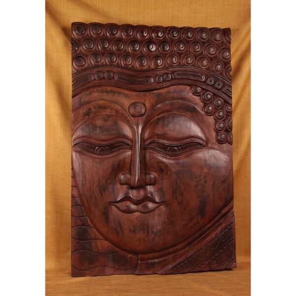 Hand-carved Teak Buddha Panel (India)