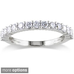 Miadora 14k White Gold 1/4 to 1ct TDW Round Diamond Wedding Band