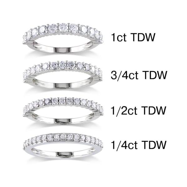 Miadora 14k White Gold 1/4 to 1ct TDW Round Diamond Wedding Band