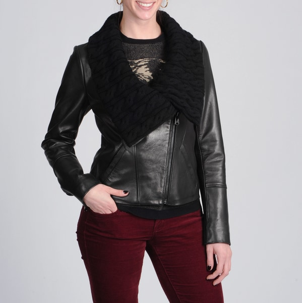 Via Spiga Women's Cable Knit/ Leather Moto Jacket