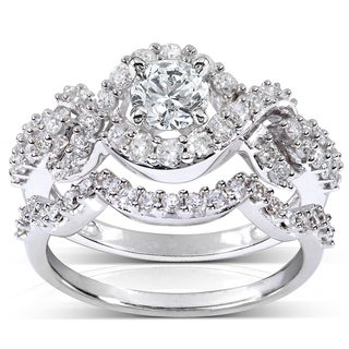Annello by Kobelli 14k White Gold 1 1/4ct TDW Diamond Braided Bridal Ring Set (H-I, I1-I2
