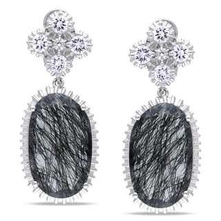 Miadora Sterling Silver Black Rutile and Created White Sapphire Earrings